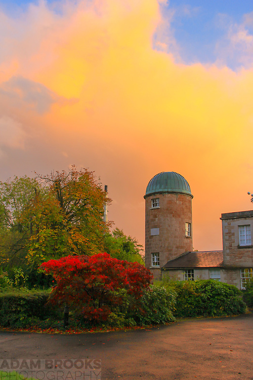 The East dome of Armagh Observatory at sunset