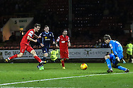 David Mooney of Leyton Orient scores his team's fourth goal to make it 4-1 during the Sky Bet League 1 match at the Matchroom Stadium, London<br /> Picture by David Horn/Focus Images Ltd +44 7545 970036<br /> 22/11/2014
