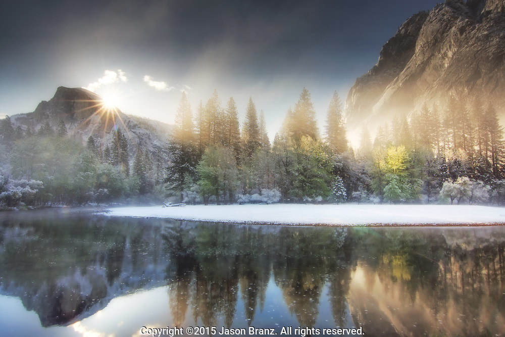 Misty sunrise above Half Dome and the Merced River, Yosemite National Park, California.