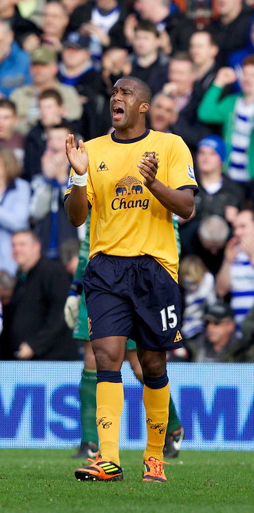 LONDON, ENGLAND - Saturday, March 3, 2012: Everton's Sylvain Distin looks dejected as Queens Park Rangers score the equalising 1-1 goal during the Premiership match at Loftus Road. (Pic by Vegard Grott/Propaganda)