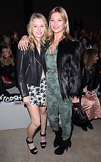 FEB 16 2014 Kate Moss and her sister Lottie at LFW