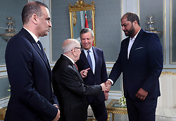 November 10, 2018 - Carthage, Tunisia - Handshake with coach (EST) Mo•ne Cha‰bani .....The president of the republic Beji Caid Essebsi received at Carthage Palace the delegation of Esperance Sportive de Tunis (EST) after his victory by 3-0 against Al Ahly of Egypt in the final of the League of African CAF Champions Total (Credit Image: © Chokri Mahjoub/ZUMA Wire)