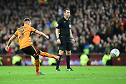 Wolverhampton Wanderers defender Barry Douglas (3) takes a free kick during the EFL Sky Bet Championship match between Aston Villa and Wolverhampton Wanderers at Villa Park, Birmingham, England on 10 March 2018. Picture by Dennis Goodwin.