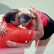 2017 U.S. Open Tennis Tournament - DAY FOURTEEN. Amanda Anisimova of the United States is congratulated by her coach and father Konstantin Anisimov after her victory against Cori Gauff of the United States in the Junior Girls' Singles Final at the US Open Tennis Tournament at the USTA Billie Jean King National Tennis Center on September 10, 2017 in Flushing, Queens, New York City.  (Photo by Tim Clayton/Corbis via Getty Images)