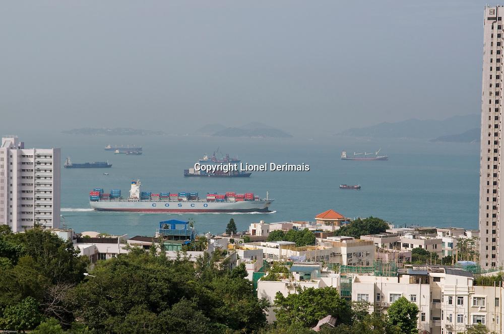 HK harbor seen from Pok Fu Lam, Hong Kong