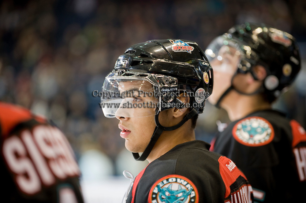 KELOWNA, CANADA, DECEMBER 3: Tyrell Goulbourne #12 of the Kelowna Rockets stands on the bench as the Prince George Cougars visit the Kelowna Rockets  on December 3, 2011 at Prospera Place in Kelowna, British Columbia, Canada (Photo by Marissa Baecker/Shoot the Breeze) *** Local Caption ***