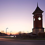 Westminster Wood roundabout clocktower in the evening.  South-end of Guelph.  Photo by Phil Maurion
