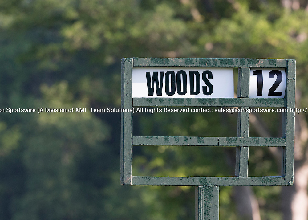 June 07 2015: Tee 1 sing showing Tiger Woods as the solo person teeing off at 12 over during the final round of the Memorial Tournament held at the Muirfield Village Golf Club in Dublin, Ohio.