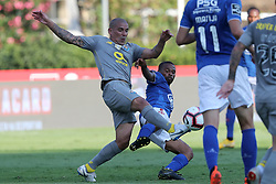 August 19, 2018 - Lisbon, Portugal - Porto's Argentine defender Maxi Pereira (L) vies with Belenenses' forward Fredy of Angola during the Portuguese League football match Belenenses vs FC Porto at the Jamor stadium in Lisbon on August 19, 2018. (Credit Image: © Pedro Fiuza via ZUMA Wire)