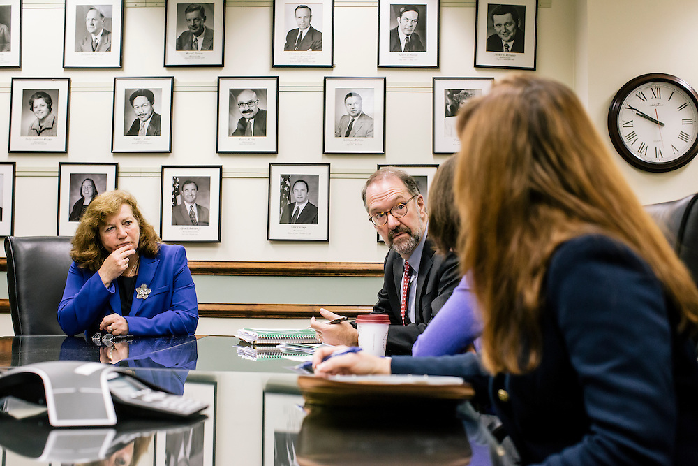 David Weil, Administrator of the Wage and Hour Division, holds a meeting with staffers, including Laura Fortman, left, deputy administrator, at the U.S. Department of Labor in Washington, D.C.