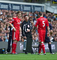 LONDON, ENGLAND - Sunday, September 18, 2011: Liverpool's Sebastian Coates prepares to make his debut for the club as he replaces the injured Daniel Agger during the Premiership match against Tottenham Hotspur at White Hart Lane. (Pic by David Rawcliffe/Propaganda)
