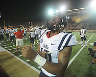Mississippi defensive end C.J. Johnson (10) celebrates vs. Vanderbilt in Nashville, Tenn. on Thursday, August 29, 2013. Ole Miss won 39-35.
