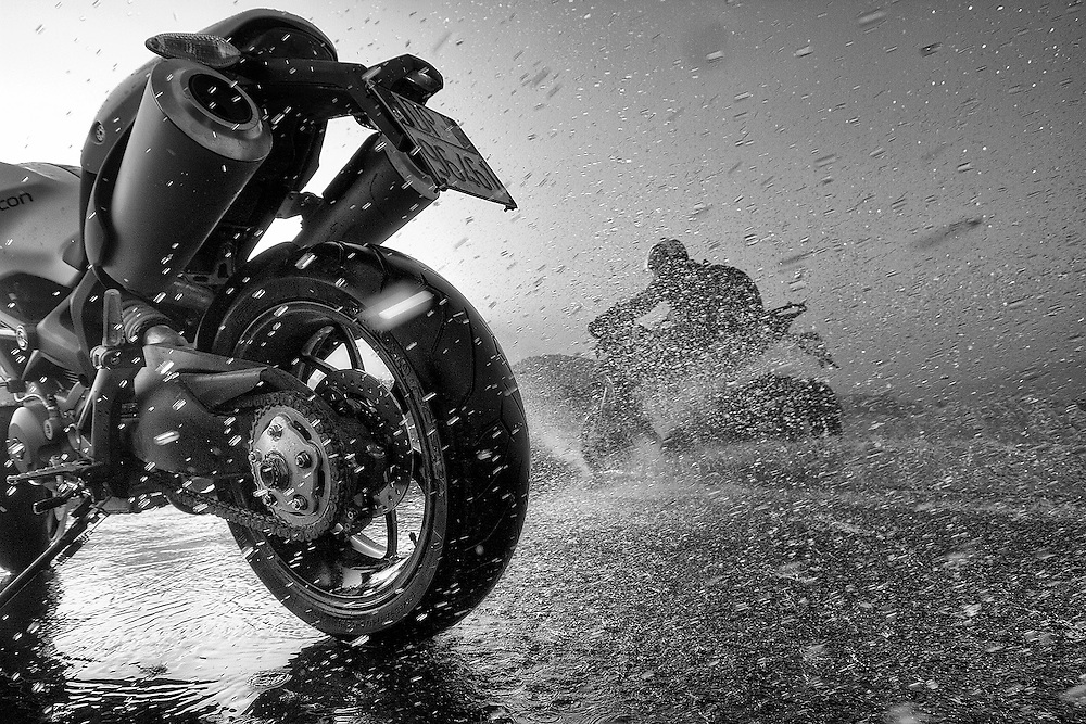 Splash!<br /> A Ducati Monster gets wet with MultiStrada laughing away, India