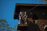 Dean Gaboury ziplines at The Ridges on Parents Weekend. Photo by Hannah Ruhoff