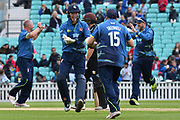 Sam Billings celebrates James Tredwell's slip catch during the Royal London 1 Day Cup match between Surrey County Cricket Club and Kent County Cricket Club at the Kia Oval, Kennington, United Kingdom on 12 May 2017. Photo by Jon Bromley.