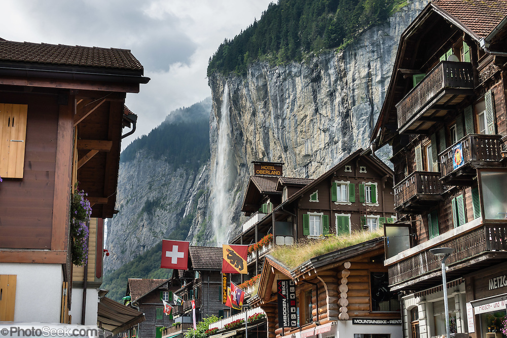 Hotel Oberland under Staubbach Falls, in Lauterbrunnen village, canton of Bern, Switzerland, the Alps, Europe.