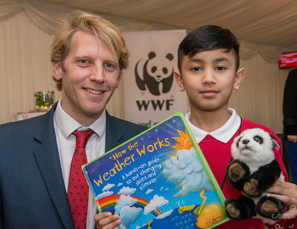 Primary  School winner Rashid with  Andrew Triggs Hodge during the WWF UK Earth Hour 10th Anniversary Parliamentary Reception, Terrace Pavilion, Palace of Westminster. 28th Feb. 2017