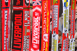LIVERPOOL, ENGLAND - Saturday, January 26, 2008: Liverpool scarves hang on display from a street trader outside at Anfield. (Photo by David Rawcliffe/Propaganda)