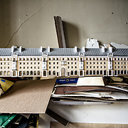 A cardboard model of a palace of ancient Narva, in the Frdor Shantsyn office