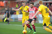Lee Brown and Arron Davies during the Sky Bet League 2 match between Exeter City and Bristol Rovers at St James' Park, Exeter, England on 28 November 2015. Photo by Graham Hunt.