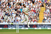 Wicket - Sam Curran of England celebrates taking the wicket of Shikhar Dhawan of India during second day of the Specsavers International Test Match 2018 match between England and India at Edgbaston, Birmingham, United Kingdom on 2 August 2018. Picture by Graham Hunt.