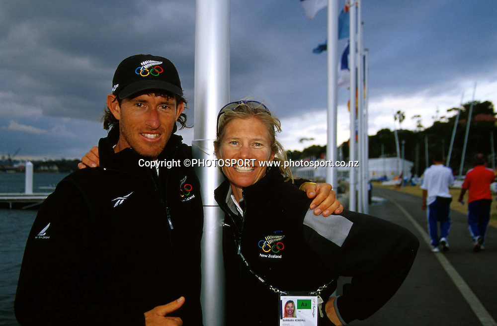 Aaron McIntosh and Barbara Kendall, Final Day Sydney Olympics, September 24 2000. Photo: PHOTOSPORT