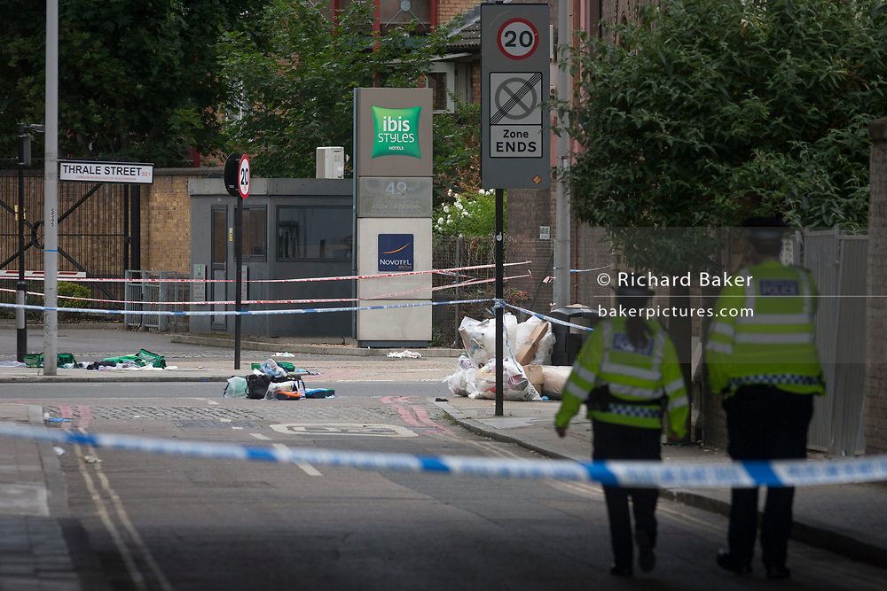 In the aftermath of the London Bridge and Borough Market terrorist attack the previous night, possessions and emergency First Aid equiupment is left in the road a half a mile from the crime scene where 7 people were killed and many others injured (Sunday's total). On Sunday 4th June 2017, in the south London borough of Southwark, England. (Photo by Richard Baker / In Pictures via Getty Images)