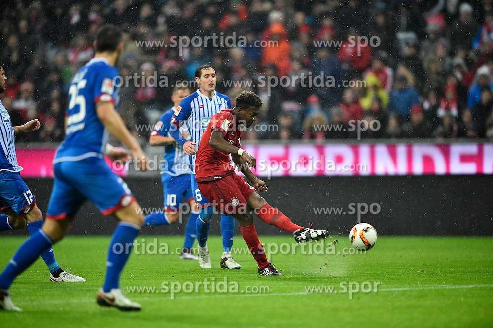 31.01.2016, Allianz Arena, Muenchen, GER, 1. FBL, FC Bayern Muenchen vs TSG 1899 Hoffenheim, 19. Runde, im Bild Schuss Torschuss von David Alaba FC Bayern Muenchen Aktion // during the German Bundesliga 19th round match between FC Bayern Munich and TSG 1899 Hoffenheim at the Allianz Arena in Muenchen, Germany on 2016/01/31. EXPA Pictures &copy; 2016, PhotoCredit: EXPA/ Eibner-Pressefoto/ Weber<br /> <br /> *****ATTENTION - OUT of GER*****