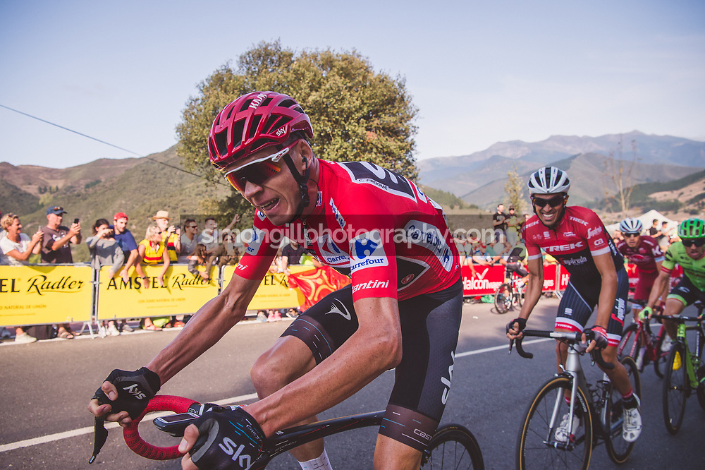 September 7th 2017, Suances to Santo Toribio de Liébana, Spain; Cycling, Vuelta a Espana Stage 18; Chris Froome and Alberto Contador.