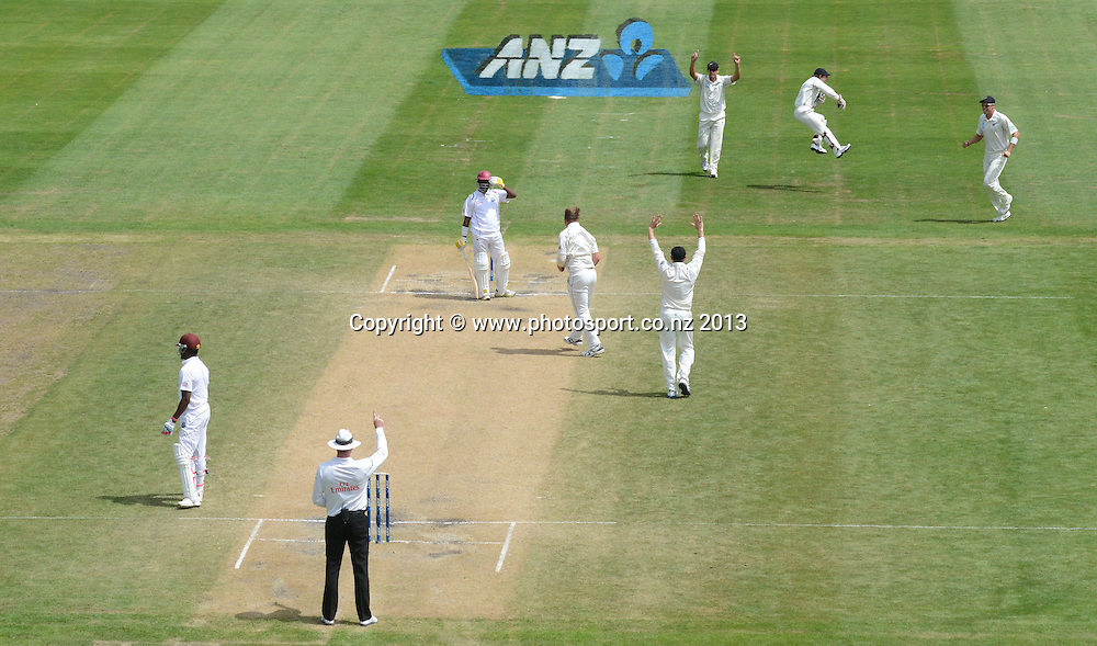 Corey Anderson celebrates the dismissal of Narsingh Deonarine on Day 4 of the 1st cricket test match of the ANZ Test Series. New Zealand Black Caps v West Indies at University Oval in Dunedin. Friday 6 December 2013. Photo: Andrew Cornaga/www.Photosport.co.nz