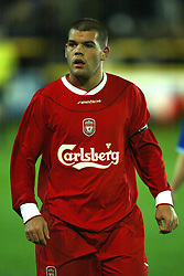 SOUTHPORT, ENGLAND - Tuesday, January 13, 2004: Liverpool's John Welsh in action against Everton during the 'mini-Derby' Premier League reserve match at Haige Avenue. (Pic by David Rawcliffe/Propaganda)