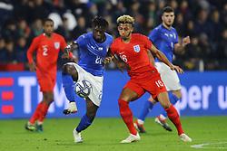 MOISE KEAN (ITALY) VS LLOID KELLY (ENGLAND)     <br /> Football friendly match Italy vs England u21<br /> Ferrara Italy November 15, 2018<br /> Photo by Filippo Rubin