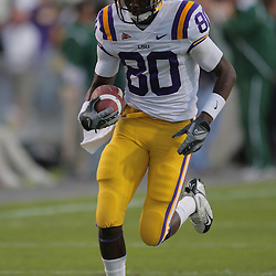 Oct 31, 2009; Baton Rouge, LA, USA; LSU Tigers wide receiver Terrance Toliver (80) during warm ups prior to kickoff against the Tulane Green Wave at Tiger Stadium. LSU defeated Tulane 42-0. Mandatory Credit: Derick E. Hingle