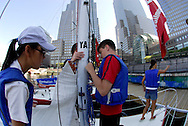New York. August 22, 2006. Manhattan Sailing School is the largest and most active sailing school in the tri-state region. From end of May to end of September, New Yorkers can learn the Basic Sailing skills, and obtain their American Sailing Association certification.&nbsp;Using J/24 sailboats in the New York Harbor, the School teaches the students ( from teens to busy professionals) the basics in 20 to 22 hours during a weekend. Classes are also offered at the Shipyard Marina (Hoboken) and Liberty Harbor (Jersey City).<br />
