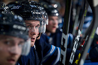 PENTICTON, CANADA - SEPTEMBER 8: Kristian Reichel #90 of Winnipeg Jets sits on the bench against the Vancouver Canucks on September 8, 2017 at the South Okanagan Event Centre in Penticton, British Columbia, Canada.  (Photo by Marissa Baecker/Shoot the Breeze)  *** Local Caption ***