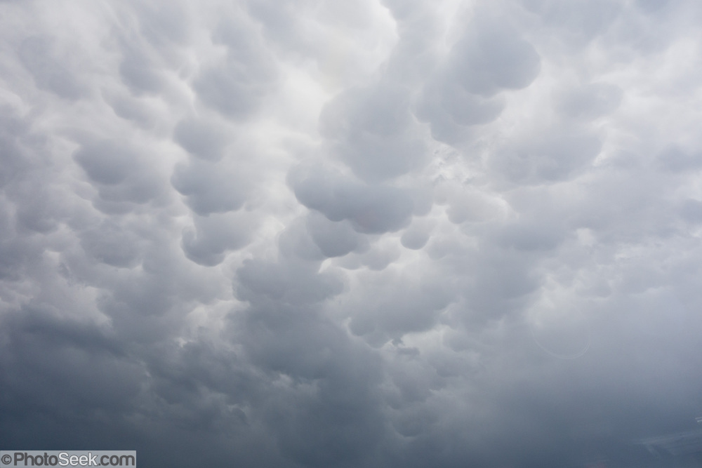 Localized downdrafts form mammatus under a cumulonimbus cloud near Austin, Texas, USA. Mammatus (from the Latin root mamma, meaning breast) is a cellular pattern of bubble-like pouches hanging beneath the base of a cloud.