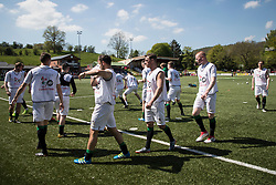 NEWTOWN, WALES - Sunday, May 6, 2018:  Aberystwyth players during the pre-match warm-up ahead of the FAW Welsh Cup Final between Aberystwyth Town and Connahs Quay Nomads at Latham Park. (Pic by Paul Greenwood/Propaganda)