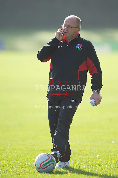 CARDIFF, WALES - Thursday, October 7, 2010: Wales' media officer Karl Pedersen during a training session at the Vale of Glamorgan ahead of the UEFA Euro 2012 Qualifying Group G match against Bulgaria. (Pic by David Rawcliffe/Propaganda)
