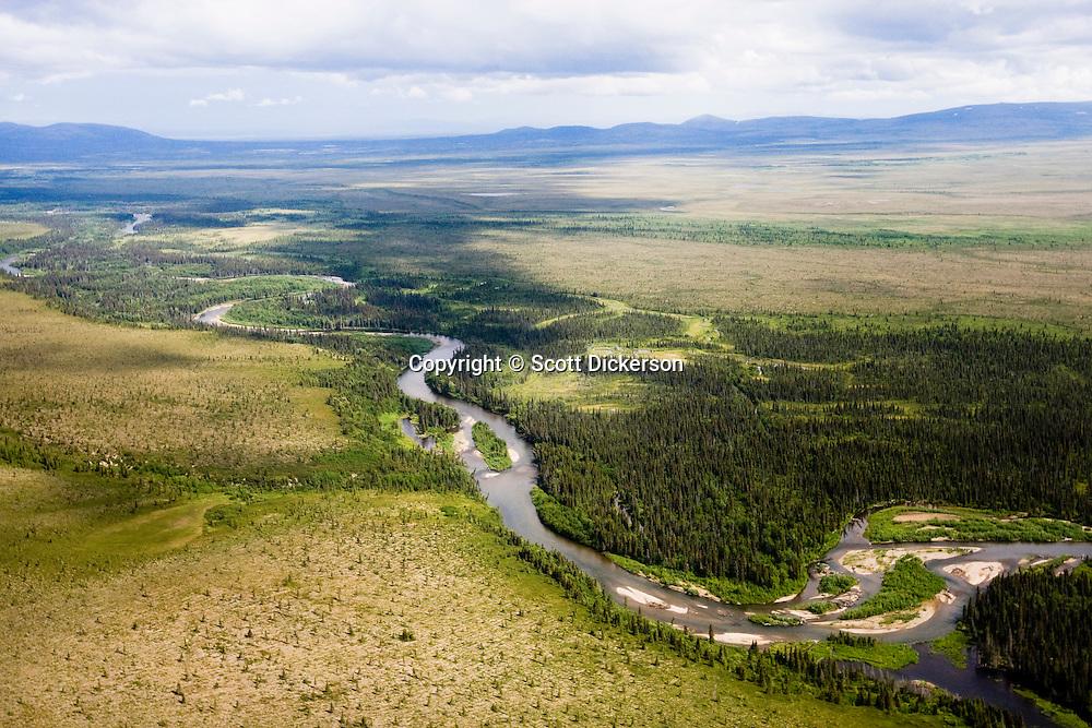Aerial view of the Koktuli River in Bristol Bay, Alaska.