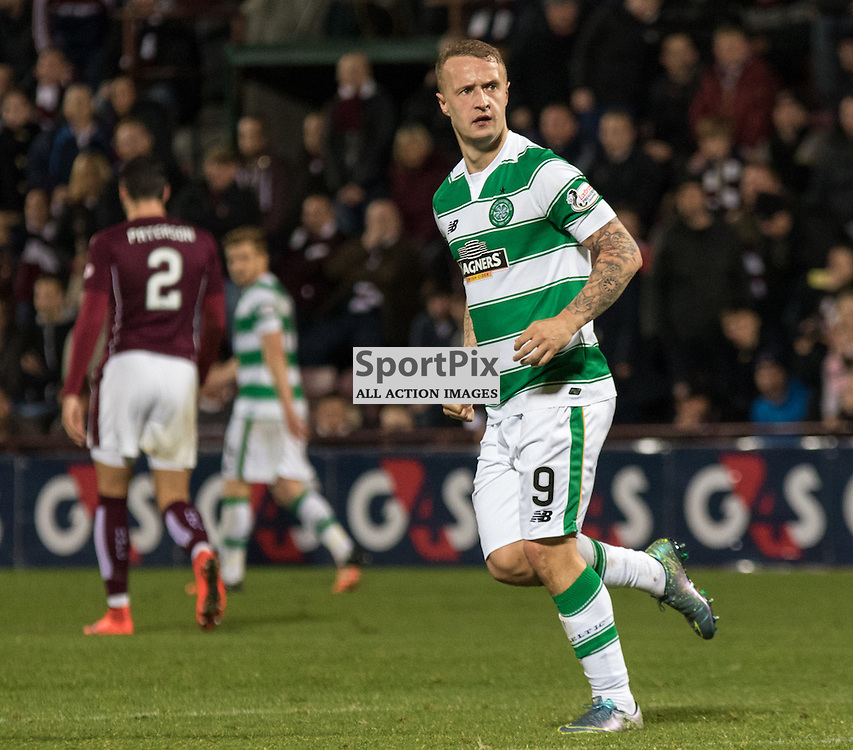 Celtic's Leigh Griffiths celebrates his opening goal in the Hearts vs Celtic Scottish League Cup Quarter Final 28th October 2015......(c) MARK INGRAM | SportPix.org.uk