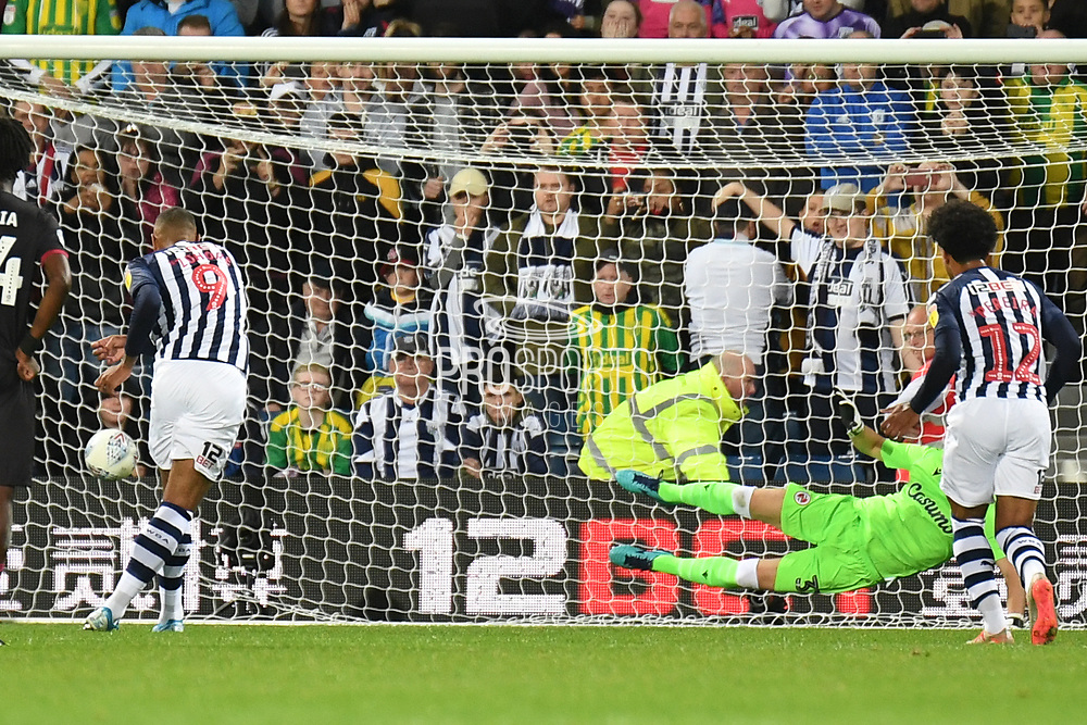 West Bromwich Albion forward Kennet Zohore (9) scores a goal from the penalty spot  1-1 during the EFL Sky Bet Championship match between West Bromwich Albion and Reading at The Hawthorns, West Bromwich, England on 21 August 2019.