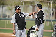 GLENDALE, AZ - FEBRUARY 19:  Todd Steverson #31 talks with manager Robin Ventura #23 of the Chicago White Sox during spring training workouts on February 19, 2014 at The Ballpark at Camelback Ranch in Glendale, Arizona. (Photo by Ron Vesely)   Subject: Todd Steverson; Robin Ventura