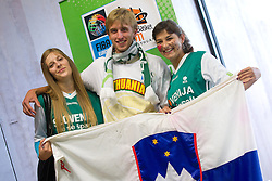 Fans of Slovenia during basketball game between National basketball teams of Slovenia and Serbia in 7th place game of FIBA Europe Eurobasket Lithuania 2011, on September 17, 2011, in Arena Zalgirio, Kaunas, Lithuania. Slovenia defeated Serbia 72 - 68 and placed 7th. (Photo by Vid Ponikvar / Sportida)