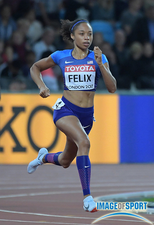 Aug 7, 2017; London, United Kingdom; Allyson Felix (USA) places second in women's 400m semifinal in 50.12 to advance to the final during the IAAF World Championships in Athletics at London Stadium at Queen Elizabeth Park.