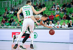 Bojan Radulovic of Petrol Olimpija vs Ziga Fifolt of Krka during basketball match between KK Petrol Olimpija and KK Krka in Round #6 of Liga Nova KBM za prvaka 2018/19, on April 5, 2019, in Arena Stozice, Ljubljana, Slovenia. Photo by Vid Ponikvar / Sportida
