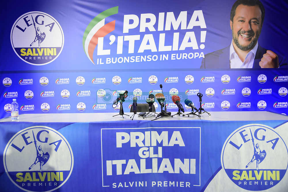 May 27, 2019 - Milan, italy - European elections 2019 Interior Minister Matteo Salvini meets the press after the votes are closed In the photo: waiting for results in the league's press room (Credit Image: © Simona Chioccia/IPA via ZUMA Press)
