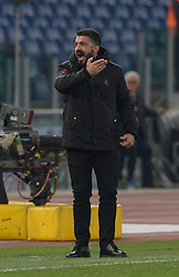 February 26, 2019 - Rome, Italy - Gennaro Gattuso during the Italian Cup football match between SS Lazio and AC Milan at the Olympic Stadium in Rome, on february 26, 2019. (Credit Image: © Silvia Lore/NurPhoto via ZUMA Press)