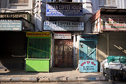 Closed Indian coffee house in one of the lanes in College street area. College street is the largest book market in the country and is one of the most important and recognised places in the city. India is going through the 2nd phase of lockdown due to covid 19 pandemic. This is to curb the spread of Covid 19 in the country. The second phase is handled with more strict rules by the administration. Kolkata, West Bengal, India, April 19, 2020. Photo by Arindam Mukherjee/ABACAPRESS.COM