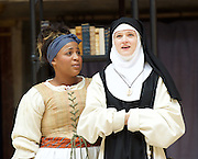 The Heresy of Love <br /> By Helen Edmundson<br /> at Shakespeare's Globe Theatre, London, Great Britain <br /> press photocall <br /> 4th August 2015 <br /> <br /> Directed by<br /> John Dove<br /> <br /> Sophia Nomvete<br /> Juanita <br /> <br /> Gwyneth Keyworth<br /> Angelica<br /> <br /> <br /> Photograph by Elliott Franks <br /> Image licensed to Elliott Franks Photography Services