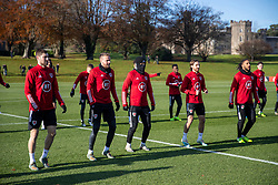 CARDIFF, WALES - Monday, November 18, 2019: Wales' Ben Davies, Chris Gunter, Aaron Ramsey, Joe Allen and captain Ashley Williams during a training session at the Vale Resort ahead of the final UEFA Euro 2020 Qualifying Group E match against Hungary. (Pic by David Rawcliffe/Propaganda)